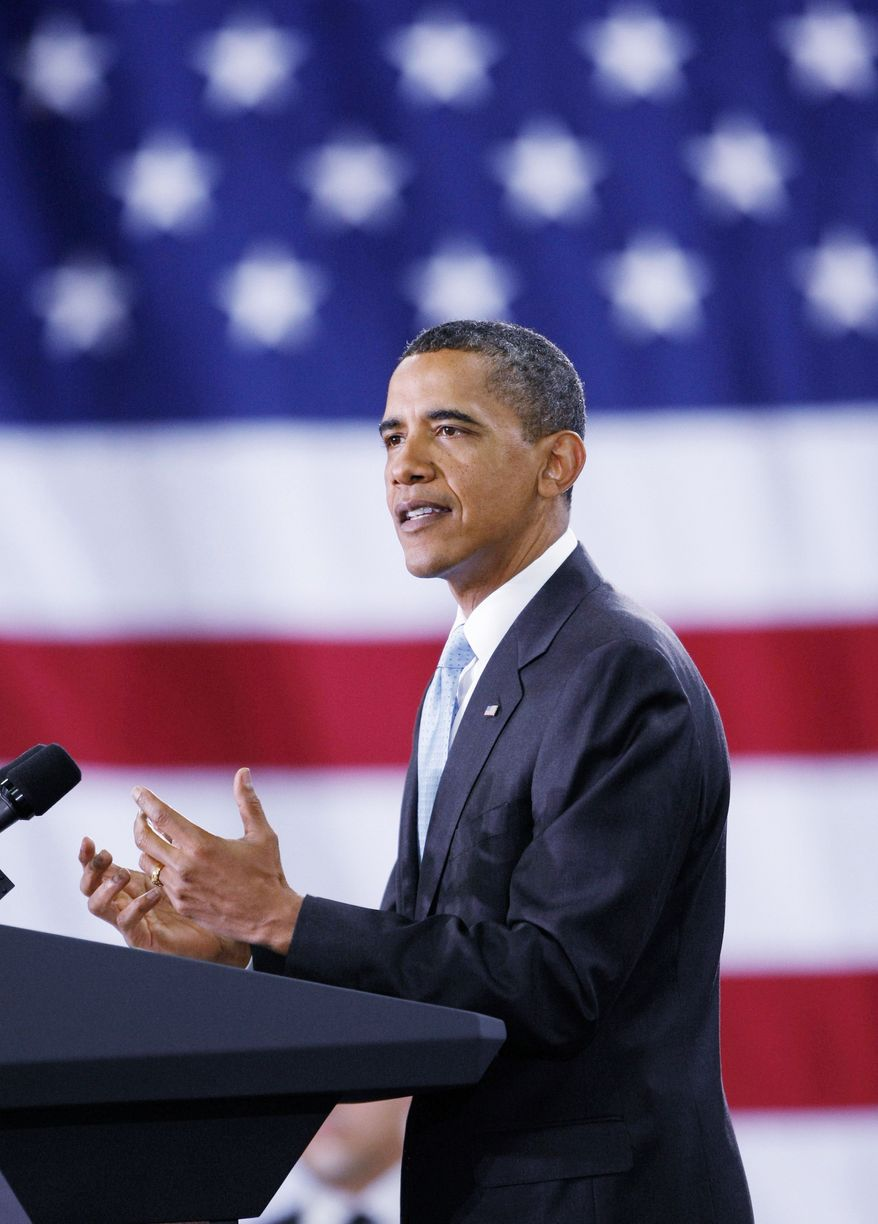 President Obama speaks at Solyndra Inc. in Fremont, Calif., on Wednesday, after touring the facility that manufactures solar panels. He will speak to reporters on Thursday. (Associated Press)
