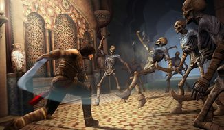 Our hero battles a bunch of skeletons in Prince of Persia: The Forgotten Sands from Ubisoft for the PlayStation 3.