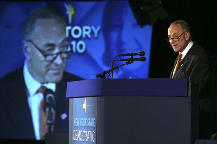 Sen. Charles E. Schumer, N.Y. Democrat, addresses the New York State Democratic Committee State Convention, Wednesday, May 26, 2010, in Rye Brook, N.Y. Mr. Schumer is a co-author of the Disclose Act. (AP Photo/Mary Altaffer)