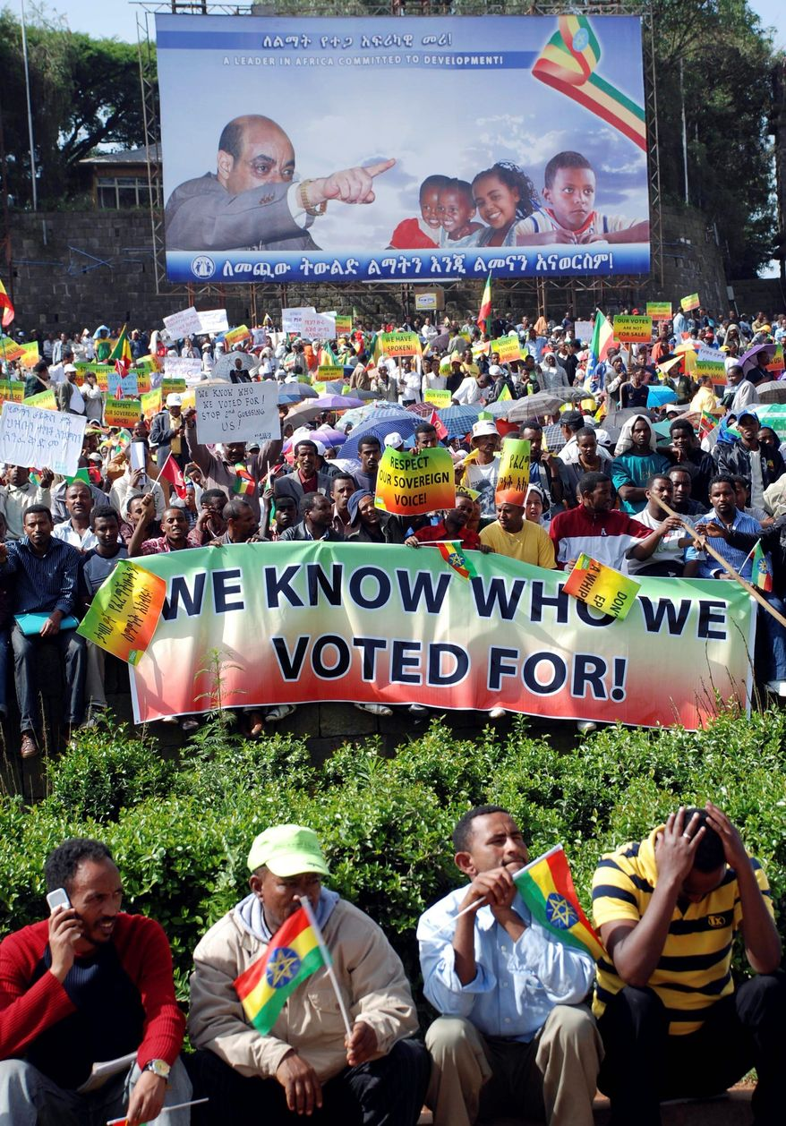Ruling-party supporters rallied Tuesday in Addis Ababa, Ethiopia, to celebrate victory in the national election, but the chief European Union observer said the vote was stacked against the opposition. (Associated Press)