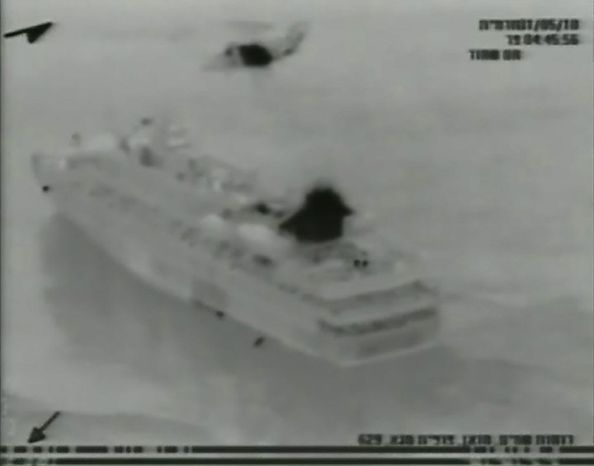 This image made from video provided by the Israeli Defence Force on Monday, May 31, 2010 shows what the IDF says is the Mavi Marmara ship, part of the aid flotilla in the Mediterranean Sea. Israeli commandos rappelled down to an aid flotilla sailing to thwart a Gaza blockade on Monday, clashing with pro-Palestinian activists on the lead ship in a raid that left at least nine passengers dead. (AP Photo/Israel Defence Force)  AP HAS NO WAY OF INDEPENDENTLY VERIFYING THE AUTHENTICITY OF THE VIDEO PROVIDED BY THE ISRAELI DEFENCE FORCE