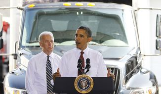 President Barack Obama, accompanied by Vice President Joe Biden, speaks about the economy following a tour of K. Neal International Trucks, Inc., Friday, June 4, 2010, in Hyattsville, Md. (AP Photo/Haraz N. Ghanbari)