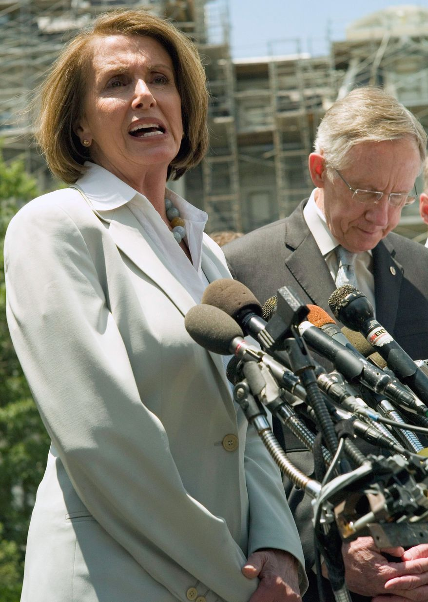 ** FILE ** Rep. Nancy Pelosi, D-Calif., outside the White House. (Associated Press)