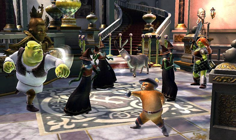 Up to four players take part in the video game action in Shrek Forever After from Activision for the PlayStation 3.