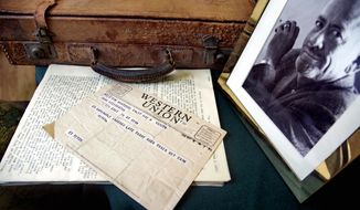 "ASSOCIATED PRESS PHOTOGRAPHS A Western Union telegram informing John Steinbeck about the death of longtime friend and collaborator Edward Ricketts, along with Ricketts' briefcase and other materials, is estimated to sell for $9,000 to $12,000. Ricketts was the inspiration of the character Doc in ""Cannery Row"" and ""Sweet Thursday."""
