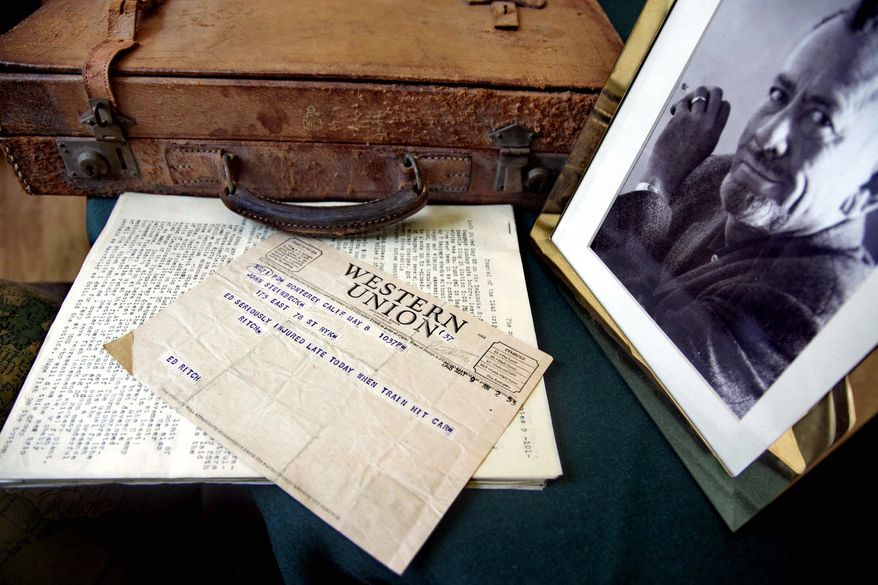 """ASSOCIATED PRESS PHOTOGRAPHS A Western Union telegram informing John Steinbeck about the death of longtime friend and collaborator Edward Ricketts, along with Ricketts' briefcase and other materials, is estimated to sell for $9,000 to $12,000. Ricketts was the inspiration of the character Doc in """"Cannery Row"""" and """"Sweet Thursday."""""""