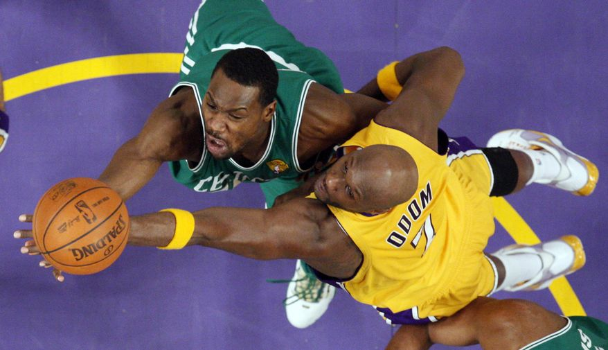 ASSOCIATED PRESS Boston Celtics guard Tony Allen, left, puts up a shot as Los Angeles Lakers forward Lamar Odom defends during the second half in Game 6 of the NBA basketball finals, Tuesday, June 15, 2010, in Los Angeles. The Lakers won 89-67.