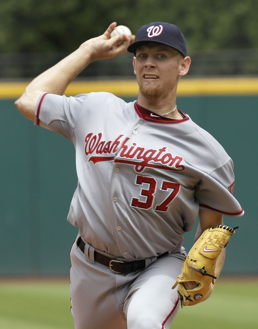 ASSOCIATED PRESS Washington Nationals starting pitcher Stephen Strasburg throws during the first inning against the Cleveland Indians in a baseball game in Cleveland on Sunday, June 13, 2010.