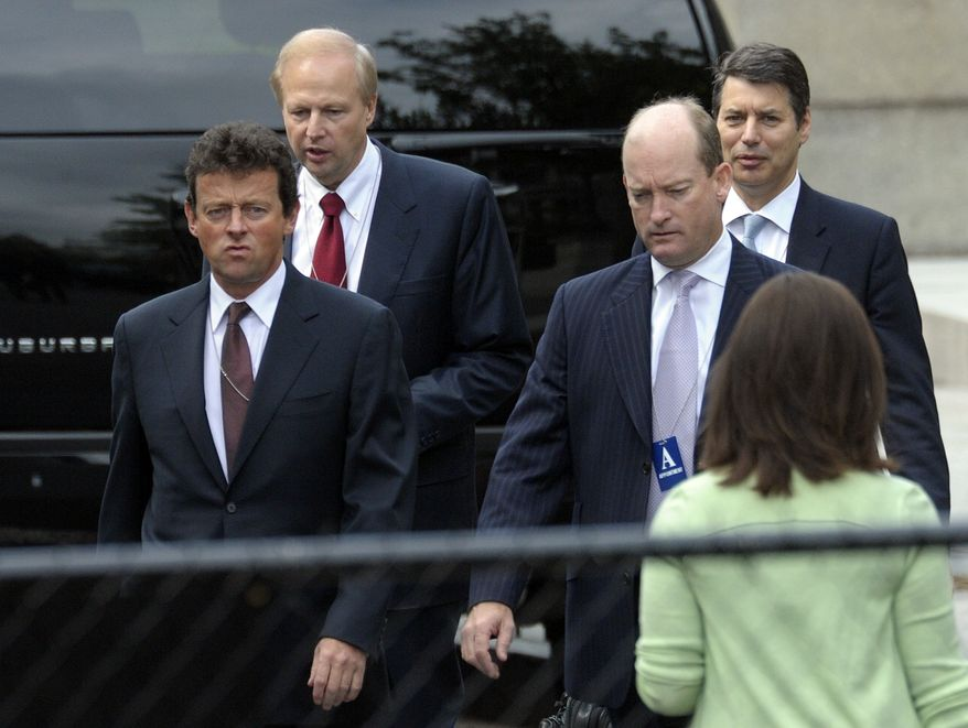 BP Chief Executive Officer Tony Hayward (left), BP America chief Lamar McKay (second from right) and other BP executives arrive at the White House in Washington on Wednesday, June 16, 2010, for a meeting with President Obama. (AP Photo/Susan Walsh)