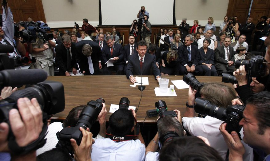 """BP CEO Tony Hayward takes his seat on Capitol Hill in Washington, Thursday,June 17, 2010, prior to testifying before the House Oversight and Investigations subcommittee hearing on """"the role of BP in the Deepwater Horizon Explosion and oil spill, (AP Photo/Haraz N. Ghanbari)"""