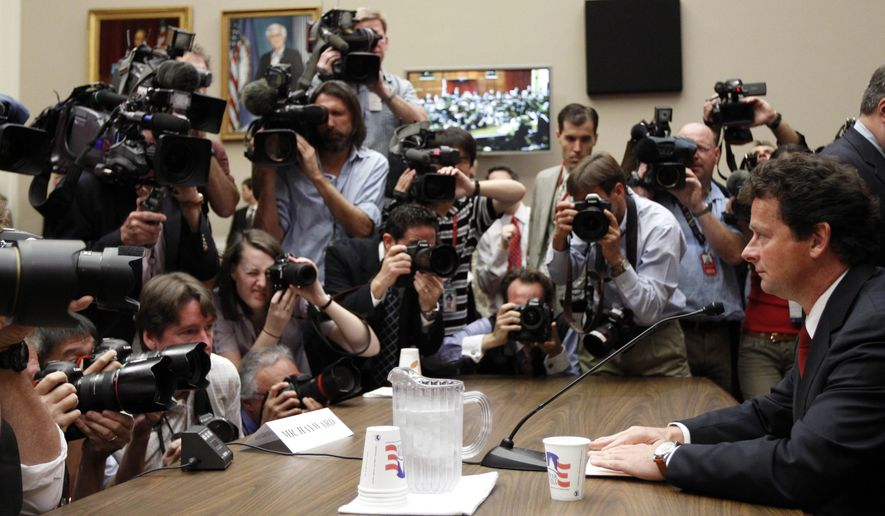 "BP CEO Tony Hayward prepares to testify on Capitol Hill in Washington, Thursday, June 17, 2010, before the House Oversight and Investigations subcommittee hearing on ""the role of BP in the Deepwater Horizon Explosion and oil spill. (AP Photo/Alex Brandon)"