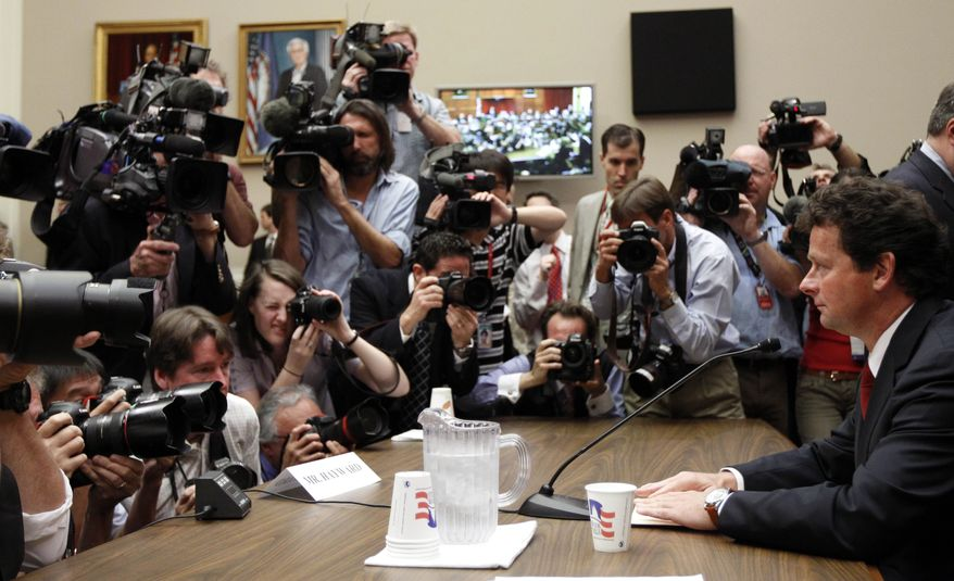 """BP CEO Tony Hayward prepares to testify on Capitol Hill in Washington, Thursday, June 17, 2010, before the House Oversight and Investigations subcommittee hearing on """"the role of BP in the Deepwater Horizon Explosion and oil spill. (AP Photo/Alex Brandon)"""