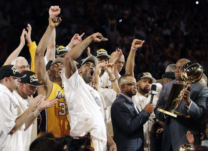 ASSOCIATED PRESS The Los Angeles Lakers celebrate winning the NBA basketball championship 83-79 against the Boston Celtics Thursday, June 17, 2010, in Los Angeles.