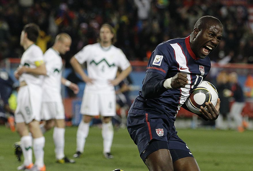 United States' Jozy Altidore celebrates after United States' Michael Bradley, not seen, scored a goal during the World Cup group C soccer match between Slovenia and the United States at Ellis Park Stadium in Johannesburg, South Africa, Friday, June 18, 2010. The match ended in a 2-2- draw.  (AP Photo/Elise Amendola)