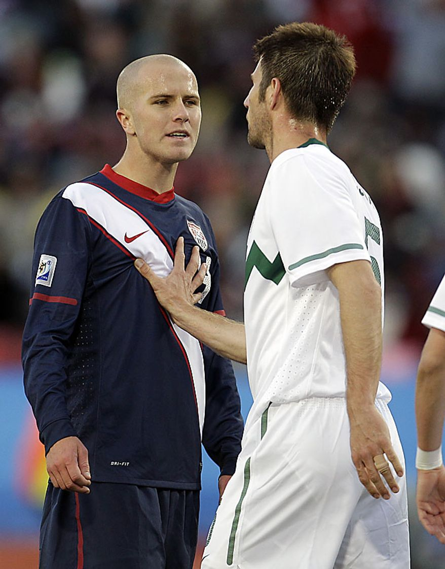 Slovenia's Bostjan Cesar, right, faces United States' Michael Bradley during the World Cup group C soccer match between Slovenia and the United States at Ellis Park Stadium in Johannesburg, South Africa, Friday, June 18, 2010.  (AP Photo/Darko Bandic)