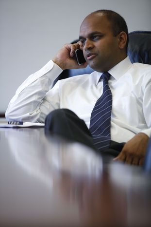 Manan Trivedi, who is running for Congress in Pennsylvania's 6th Congressional District, makes campaign calls in Philadelphia, Wednesday, June 16, 2010.