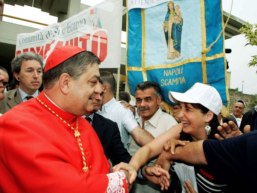 Cardinal Crescenzio Sepe, shown here in 2006, greets the faithful as he visits the district of Scampia before a Mass and ceremony in the cathedral in Naples. The Vatican has pledged that Cardinal Sepe will cooperate in an Italian investigation of a corruption scandal. (Associated Press)