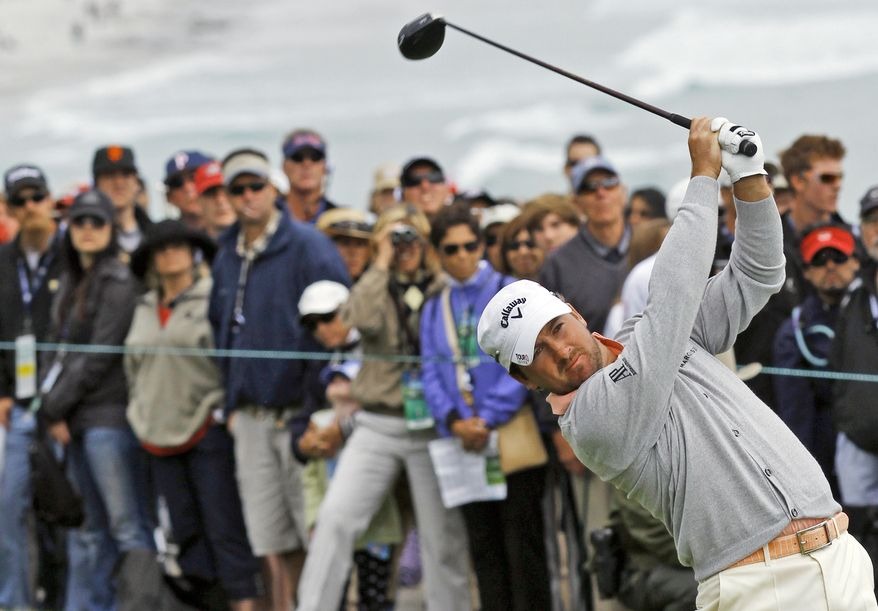 ASSOCIATED PRESS Graeme McDowell  of Northern Ireland hits a drive on the 14th hole during the fourth round of the U.S. Open golf tournament Sunday, June 20, 2010, at the Pebble Beach Golf Links in Pebble Beach, Calif.