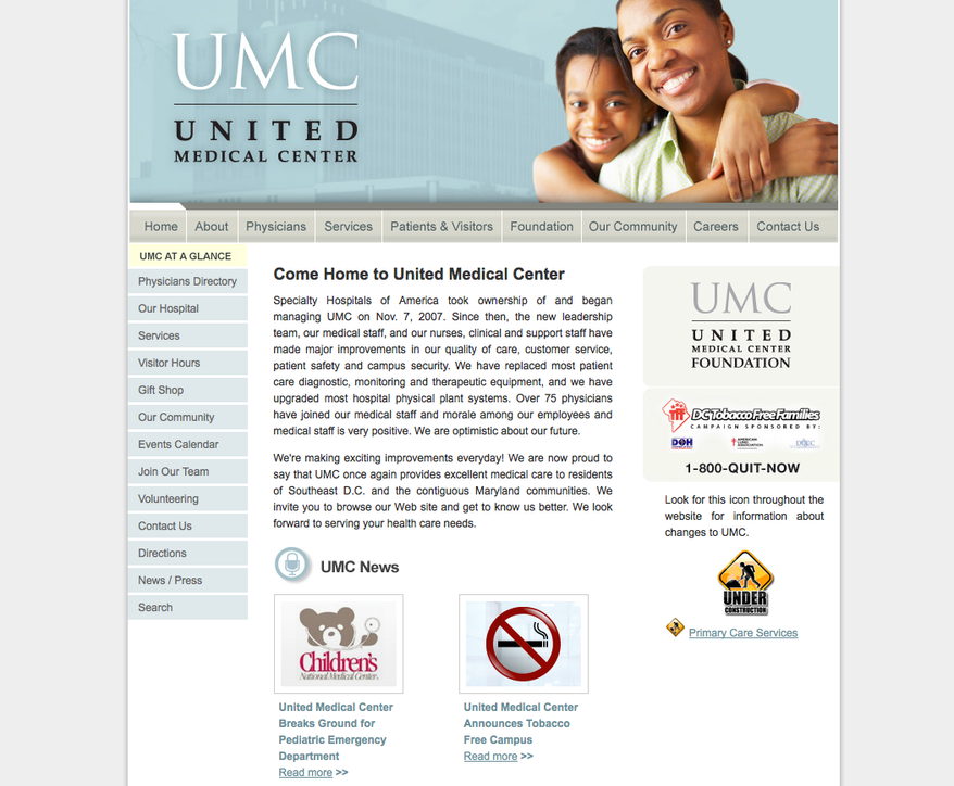 Screen capture of United Medical Center's Web site (Courtesy of united-medicalcenter.com)