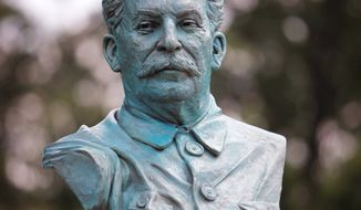 A bust of Josef Stalin sits at the National D-Day Memorial in Bedford, Va. The statue has faced harsh criticism, and opponents have created a petition with signatures of people from 45 states and 20 countries. (Associated Press)