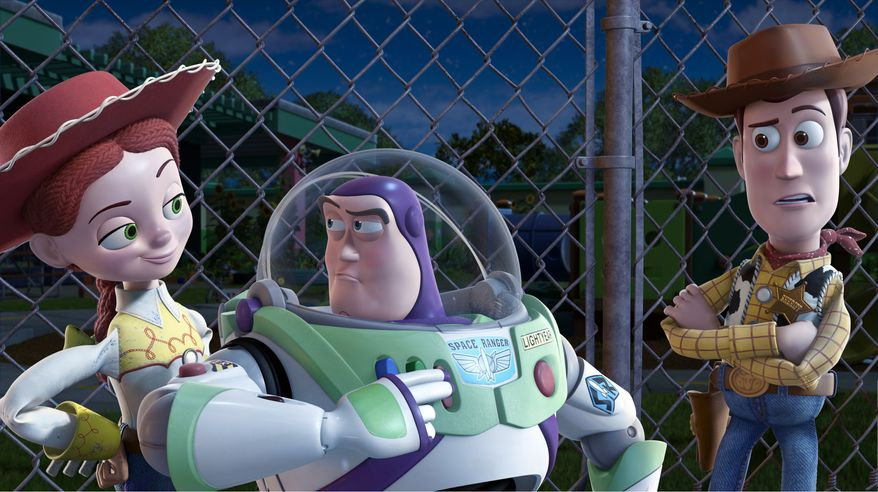 "** FILE ** In this file film publicity image released by Disney, from left, Jessie, voiced by Joan Cusack, Buzz Lightyear, voiced by Tim Allen and Woody, voiced by Tom Hanks are shown in a scene from, ""Toy Story 3."" Movie fans have not outgrown the ""Toy Story 3"" gang. The animated sequel about toys that come to life leaped to the No. 1 spot with a $109 million opening weekend, according to studio estimates Sunday. (AP Photo/Disney Pixar, File)"