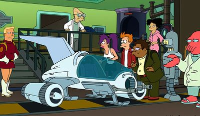 """Animated characters from left, Zapp Brannigan, Professor Farnsworth, Leela, Fry, Hermes, Amy, Bender and Dr. Zoidberg are shown in a scene from """"Futurama."""" (AP Photo/Comedy Central)"""