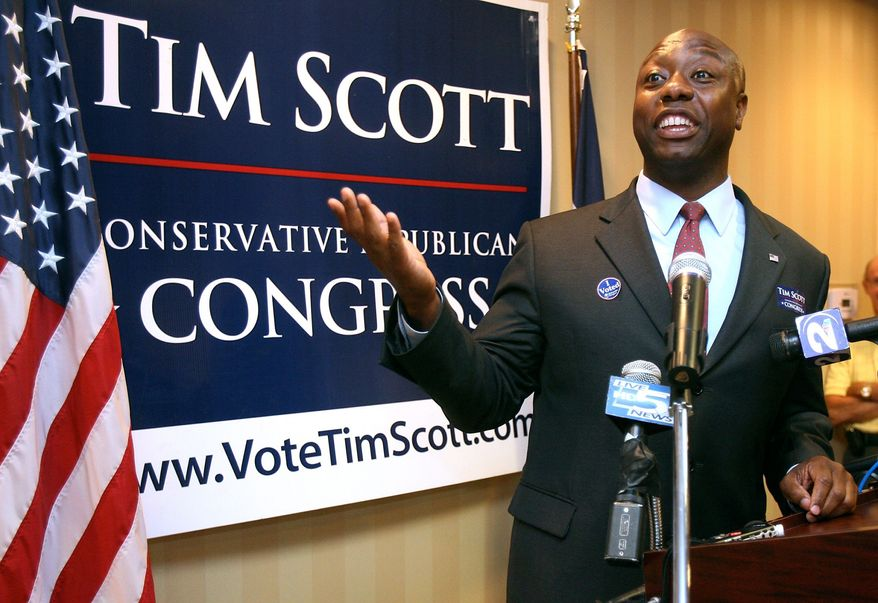 The Republican candidate for South Carolina's 1st Congressional District, state Rep. Tim Scott, defeated the late Sen. Strom Thurmond's son Paul on Tuesday in the GOP runoff for the House seat nomination. Mr. Scott will face Democrat Ben Frasier, who also is black, in November. (Associated Press)