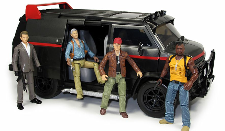 "Jazwares' A-Team Van and figures Lt. Templeton ""Faceman"" Peck,  Col. John ""Hannibal"" Smith,  Capt. ""Howling Mad"" Murdock and B.A. Baracus."