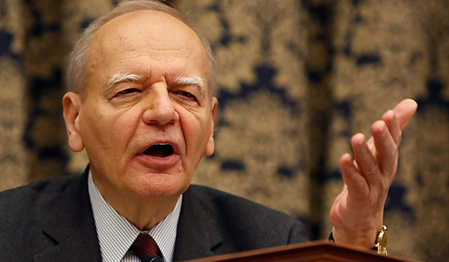 House Oversight Committee member Rep. Paul Kanjorski, Pennsylvania Democrat, questions former AIG head Hank Greenberg, on Capitol Hill in Washington, Thursday, April 2, 2009, during the committee's hearing. (AP Photo/Gerald Herbert)
