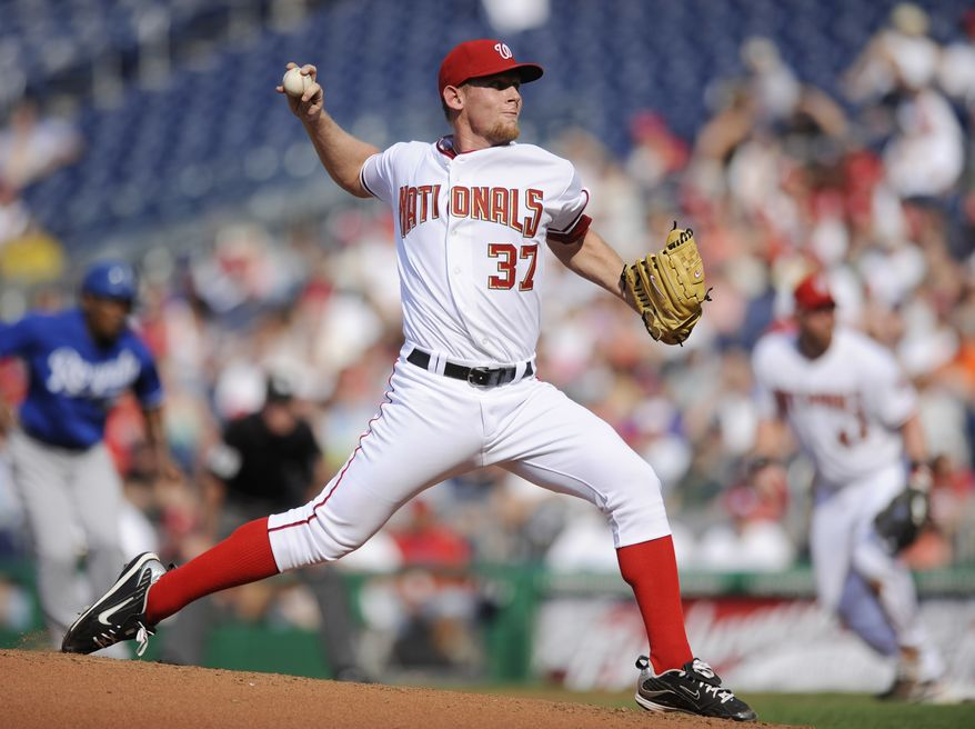 Washington Nationals starting pitcher Stephen Strasburg (37) delivers a pitch against the Kansas City Royals during the fourth inning of a baseball game on Wednesday, June 23, 2010, in Washington. The Royals won 1-0. (AP Photo/Nick Wass)