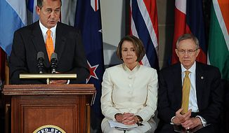 House Minority Leader John Boehner, R-OH, speaks during a ceremony to mark the 60th anniversary of the start of the Korean War in Statuary Hall in the U.S. Capitol in Washington on June 24, 2010. Behind him from left are Speaker of the House Nancy Pelosi, D-CA, and Senate Majority Leader Harry Reid, D-NV. (UPI/Roger L. Wollenberg)