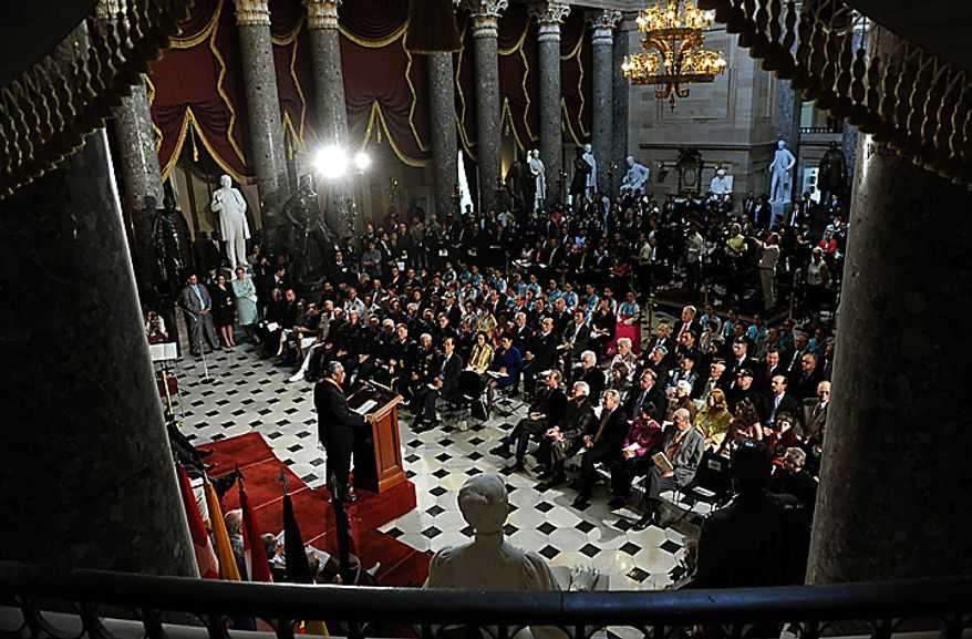 Rep. Charlie Rangel, D-NY, speaks during a ceremony to mark the 60th anniversary of the start of the Korean War in Statuary Hall in the U.S. Capitol in Washington on June 24, 2010. (UPI/Roger L. Wollenberg)