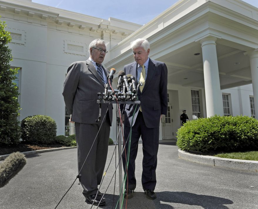 ** FILE ** In this May 21, 2010, photo, Rep. Barney Frank (left), Massachusetts Democrat, who chairs the House Financial Services Committee, and Sen. Christopher J. Dodd, Connecticut Democrat, who is Senate Banking Committee chairman, speak to reporters outside the White House after meeting with President Obama on banking-overhaul legislation. (AP Photo/Susan Walsh, File)