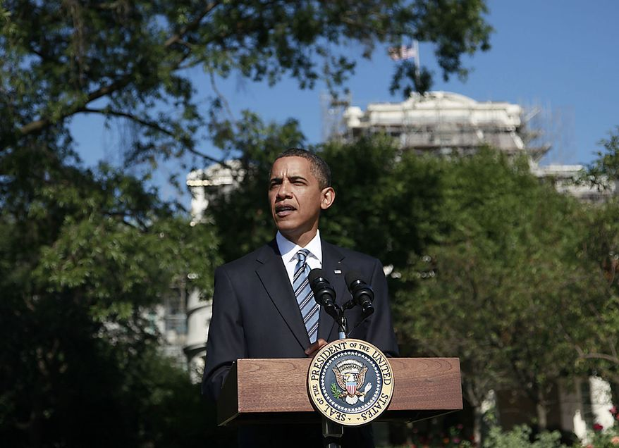 President Obama speaks to members of the media on the South Lawn of the White House in Washington, Friday, June 25, 2010, before departing to Canada to attend the G-20 summit. (AP Photo/Pablo Martinez Monsivais)