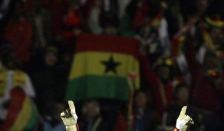 Ghana goalkeeper Richard Kingson reacts at the end of the World Cup round of 16 soccer match between the United States and Ghana at Royal Bafokeng Stadium in Rustenburg, South Africa, on June 26, 2010. Ghana won 2-1 in extra time, advancing to the World Cup quarterfinals. (Associated Press)