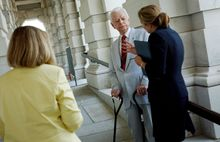 The Washington Times Sen. Robert C. Byrd, West Virginia Democrat, speaks to the media in July 2005 about Democratic accomplishments at the U.S. Capitol before leaving for summer break. Mr. Byrd died Monday at 92 after having the longest congressional career in American history.