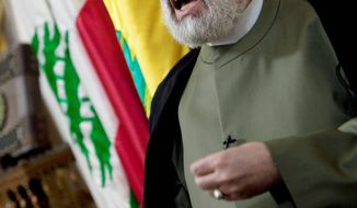 Hezbollah Deputy Chief Sheik Naim Kassem, interviewed Monday, says the U.S. unfairly favors Israel. (Associated Press)
