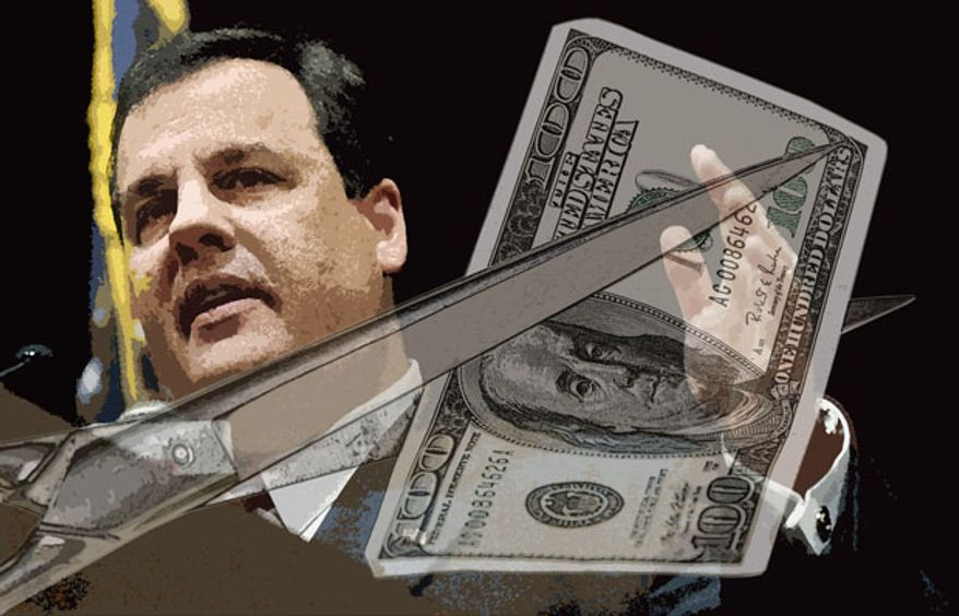 Illustration: Christie the budget cutter by Greg Groesch for The Washington Times