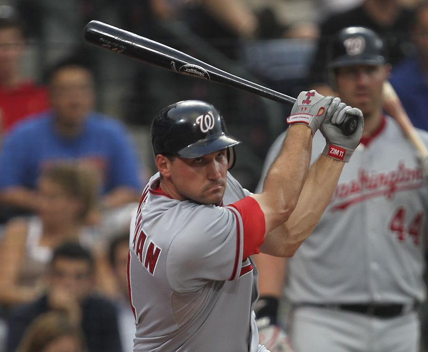 ASSOCIATED PRESS Washington Nationals third baseman Ryan Zimmerman (11) drives in two runs with a double in the fifth inning a baseball game against the Atlanta Braves  Tuesday, June 29, 2010 in Atlanta.