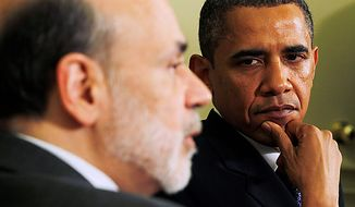 **FILE** President Obama meets with Federal Reserve Board Chairman Ben Bernanke in the Oval Office of the White House in Washington on June 29, 2010. (Associated Press)