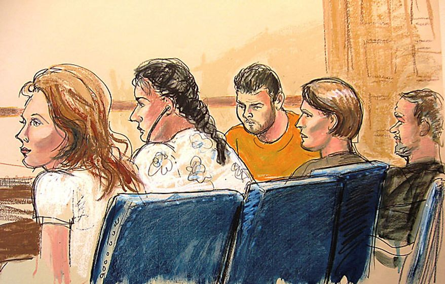 """In this courtroom sketch, Anna Chapman, left, Vicky Pelaez, second from left, the defendant known as """"Richard Murphy,"""" center, the defendant known as """"Cynthia Murphy,"""" second from right, and the defendant known as """"Juan Lazaro"""" are seen in Manhattan federal court in New York, Monday, June 28, 2010. The Murphys, Lazaro, and Pelaez are among the 10 people the FBI arrested Monday for allegedly serving for years as secret agents of Russia's intelligence organ, the SVR, with the goal of penetrating U.S. government policymaking circles. (AP Photo/Elizabeth Williams)"""