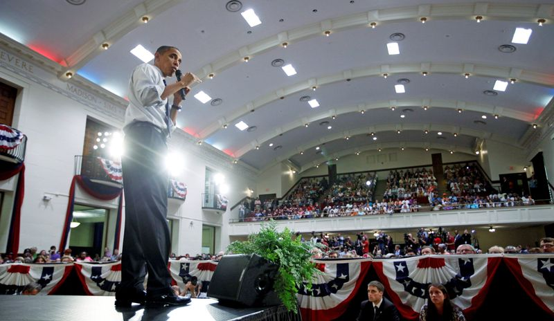 """President Obama speaks about the economy at a town-hall style event on Wednesday at Racine Memorial Hall in Racine, Wis. At the event, Mr. Obama criticized Republicans, saying, """"Their prescription for every challenge is pretty much the same."""" (Associated Press)"""