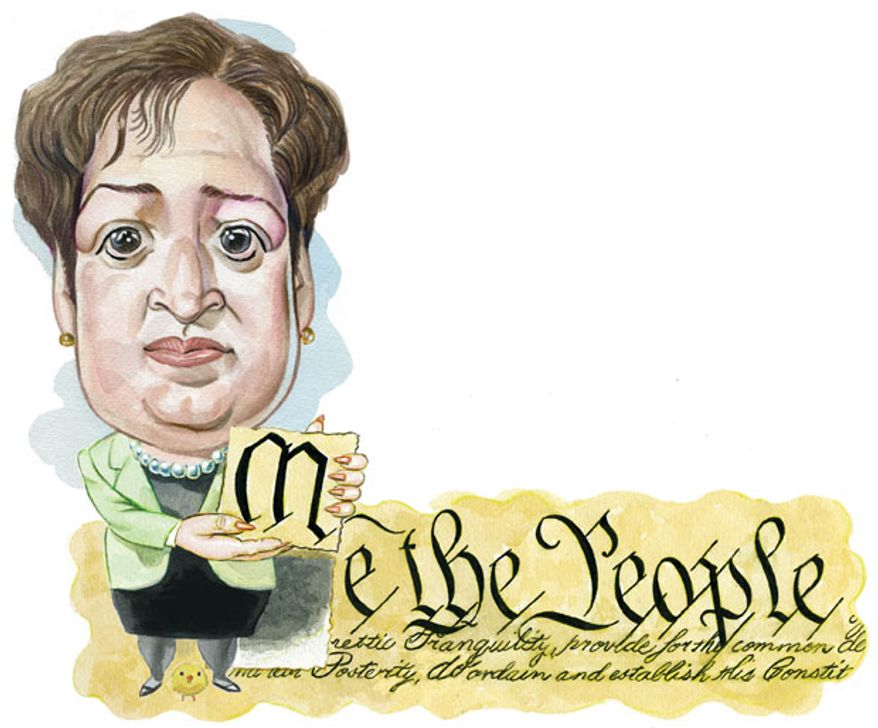 Illustration: Kagan's constitution by Alexander Hunter for The Washington Times