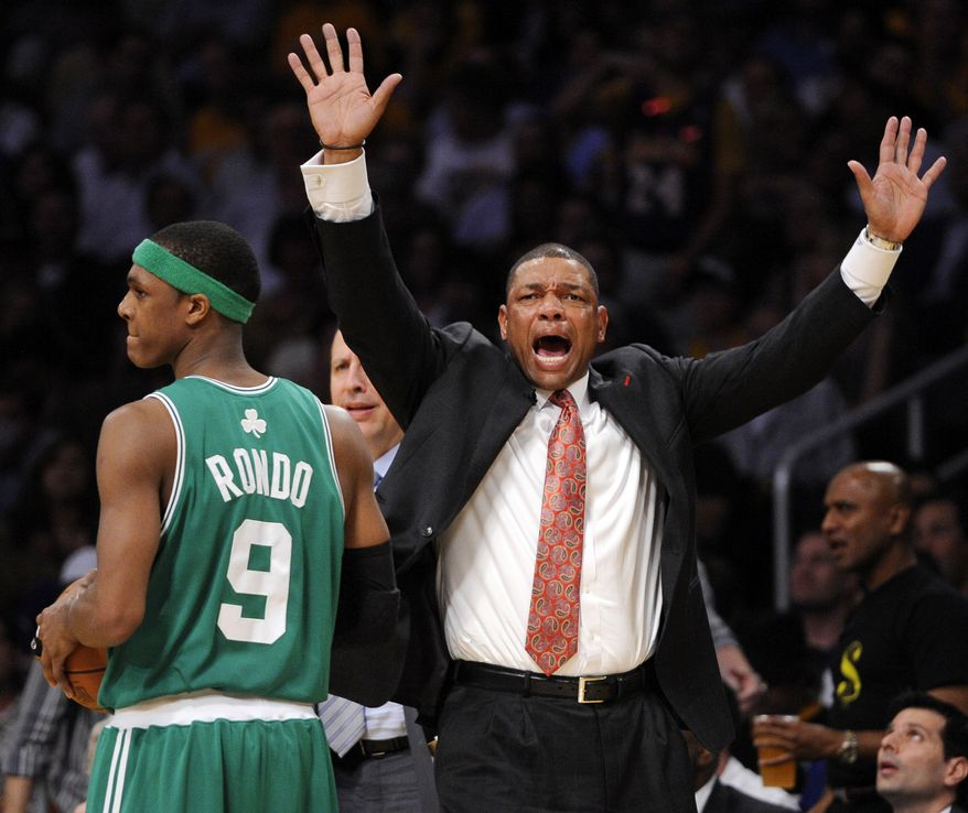 ASSOCIATED PRESS Boston Celtics head coach Doc Rivers gestures as guard Rajon Rondo stands by during the second half of Game 6 of the NBA basketball finals against the Los Angeles Lakers Tuesday, June 15, 2010, in Los Angeles. The Lakers won 89-67.