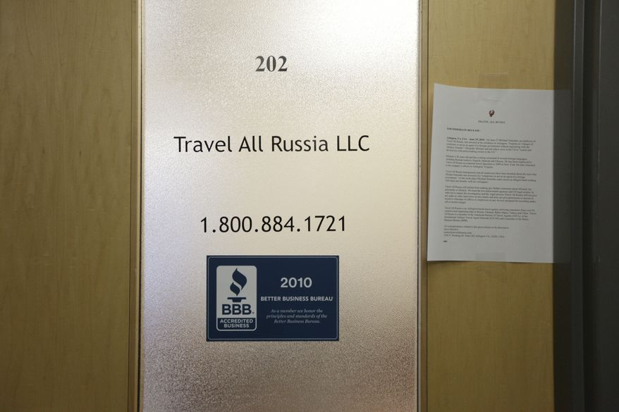 The office of Travel All Russia LLC on Pershing Drive in Arlington, Va., is seen Tuesday. On Monday, Michael Semenko, 28, an employee of Travel All Russia, was arrested at his residence in Arlington, Va., and accused of being part of a conspiracy of Russian agents that had infiltrated American society to collect information for Russia's intelligence service, the SVR. (Associated Press)