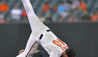 ASSOCIATED PRESS Oakland Athletics' Daric Barton, bottom, is out at second as Baltimore Orioles  second baseman Scott Moore completes the double play on a ground ball hit by Kevin Kouzmanoff in the third inning of a baseball game Thursday, July 1, 2010, in Baltimore.