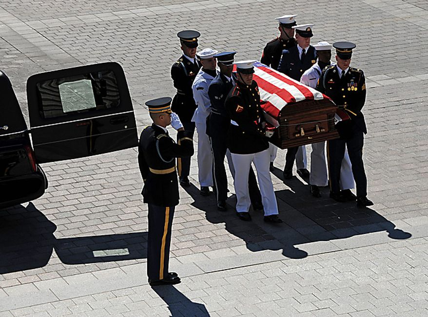 The casket of the late Sen. Robert C. Byrd, West Virginia Democrat, is carried by a military honor guard funeral detail up the Senate steps during arrival ceremonies at the U.S. Capitol on Thursday, July 1, 2010 in Washington.   UPI/Bill O'Leary/POOL