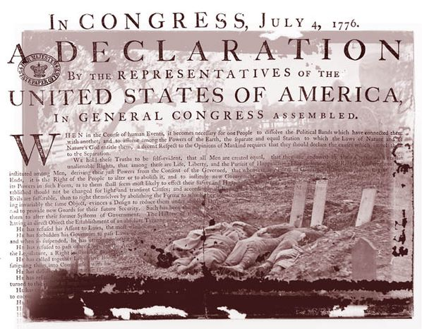 Illustration: Declaration of Independence by Greg Groesch for The Washington Times