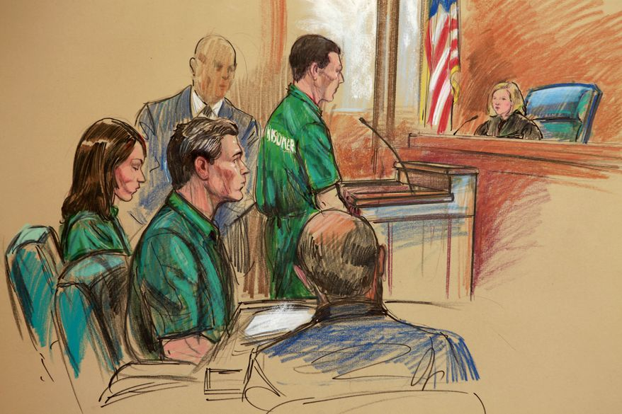 Artist's rendering of, from left, Patricia Mills, Michael Zottoli, and Mikhail Semenko, standing, at their appearance in federal court in Alexandria, Va., Thursday, July 1, 2010. The three northern Virginia residents are accused of being foreign agents for Russia. (AP Photo/Dana Verkouteren)