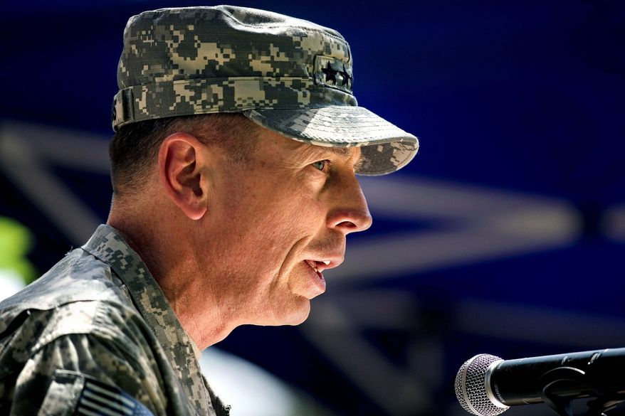 Gen. David H. Petraeus speaks during a ceremony in which he formally assumed command on Sunday in Kabul, Afghanistan. (Associated Press)